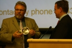 V.W. Bro. Dale Graham presenting Dr. Önnerfors with an engraved Quaich